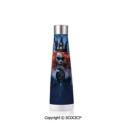 Double Wall Stainless Steel Travel Mug Insulated 17.5 oz / 500ml Queen Queen Of Death Scary Body Art Halloween Evil Face Bizarre Make Up Zombie,Navy Blue Orange -