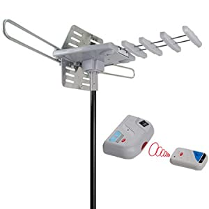 Outdoor TV Antenna Amplified for Digital HDTV with UHF, VHF, FM Rotor