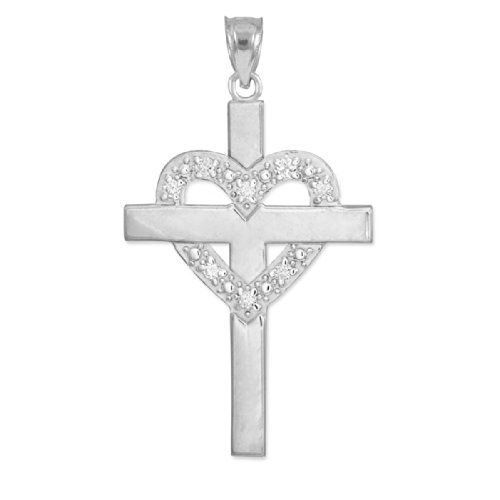 Religious Jewelry by FDJ 14k White Gold Diamond Heart Cross Pendant
