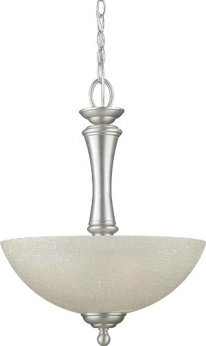 Forte Lighting 2342-03-55 Pendant with Umber Linen Glass Shades, Brushed Nickel