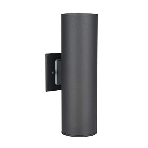 Outdoor Wall Light, UL Listed Porch Light Fixture, IP54 Waterproof Wall Sconce, Painted Gray Stainless Steel 304 Cylinder for Garden & Patio ALHAKIN by AlHAKIN
