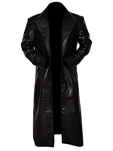 III-Fashions Matrix Morpheus (Laurence Fishburne) Crocodile Trench Black Leather Costume Coat]()