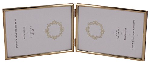 LEADEX Concise Double Metal Photo Fame,Horizontal Standing,5 by 7 Inch,Velvet Back Gold Plated