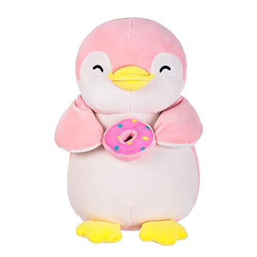 """MINISO Penguin Plush Toy, Cute Stuffed Animal Doll Gift for Kids Girls 13"""" - Holding Donut"""