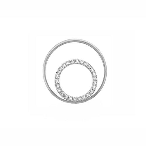 Or Blanc 18 ct Pendentifs Diamant en forme de rond, 0.14 Ct Diamant, GH-SI, 1.04 grammes.