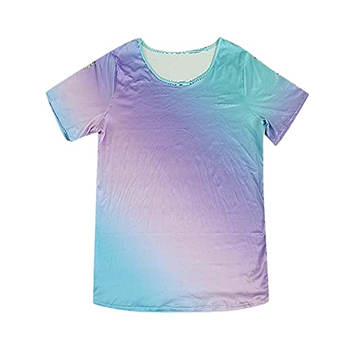 Casual Tee Tops ,Women's Casual Multicolor Gradual Change o-Neck Short Sleeve Top(Blue_11,L)