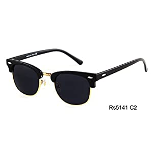 Caixia Unisex Rs5141 Plastic Half-frame Metal Rimmed Studded Oval 47mm Sunglasses (matte black+black)