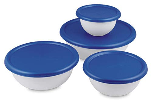 Multipurpose 8 Piece Covered Bowl Set With Lids for Storage,Transporting Food, Baking, Parties, Gatherings-BPA Phthalate Free-White ()