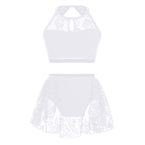 - TiaoBug Kids Girls Two-Piece Ballet Dance Gymnastic Athletic Tracksuits Outfits Crop Tops with Dancing Briefs Bottoms Shorts White-Lace 10-12