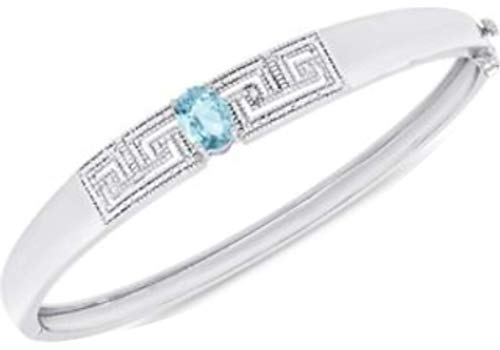 Blue Topaz and Diamond Accent Greek Key Bangle Bracelet in Silver-Plated Brass
