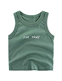 Askong Boys Girls Sleeveless O Neck Summer 100% Cotton Cartoon Printing Vest Tops Clothing for 1-10 Years