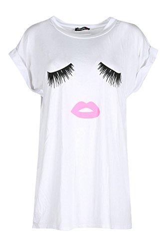 Womens Ladies Eyes Lips Print Turtle Neck Turn Up Sleeves Baggy Oversized Top