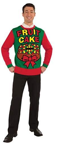 Forum Novelties Men's Plus Size Fruit Cake Novelty Christmas Sweater, Multi, X-Large
