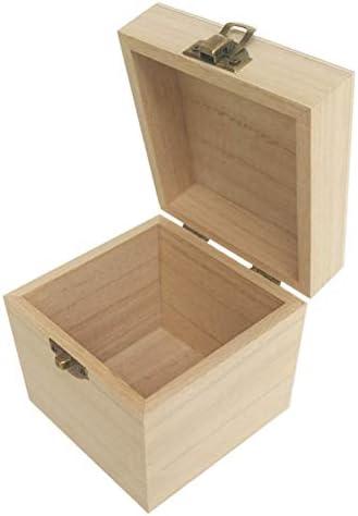 doitsa caja cuadrado pequeño con tapa caja de madera, caja de almacenaje baúl del tesoro candado para té, joyas, Regalo: Amazon.es: Hogar