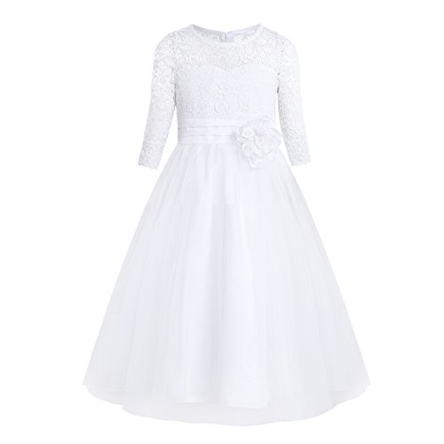 FEESHOW Floral Lace Flower Girl Dress Half Sleeved First Communion Wedding Bridesmaid Party Prom Gown White 8 ()