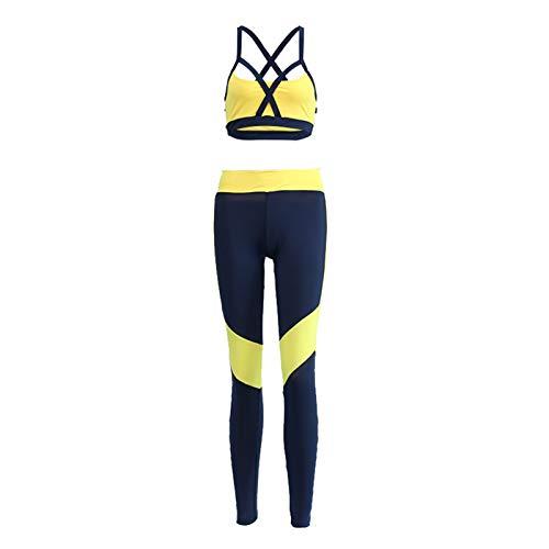 BAOHOKE Women 2 Piece Outfits Crop Top Long Pants Leggings Yoga Set Tracksuits Yoga Suit (Yellow,S)