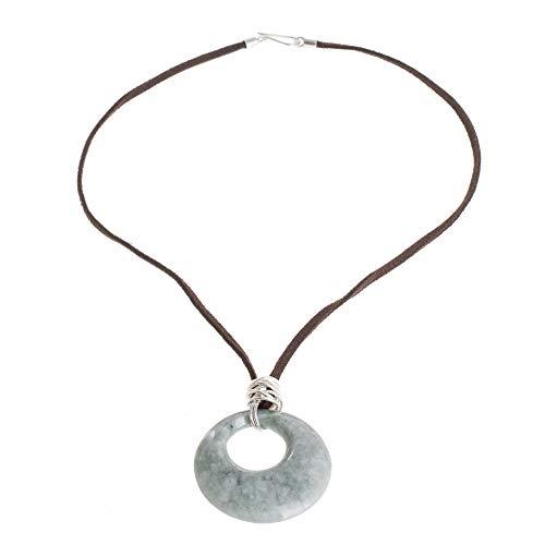 NOVICA Jade .925 Sterling Silver Leather Pendant Necklace, 18