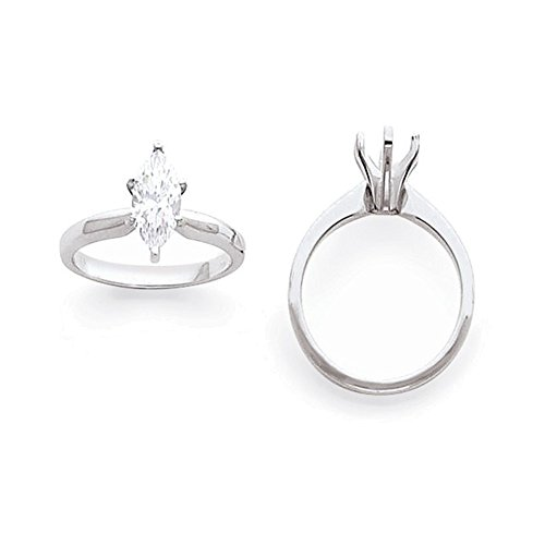 - 14k White Gold 1.25ct. Tulip-Head Half-Round Marquise Solitaire Mounting