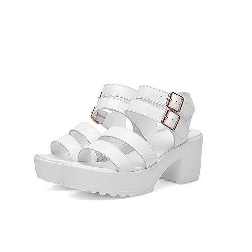 AmoonyFashion Womens Kitten Heels Soft Material Solid Buckle Open Toe Sandals White PJ3jp7jr