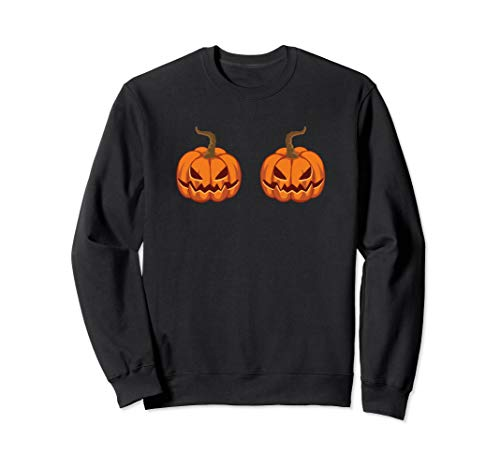 Jack O Lantern Bra Pumpkin Boobs Costume Sweatshirt]()