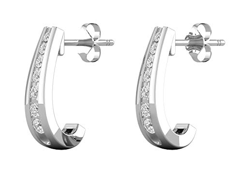 (14K White Gold 1/2 Carat (H-I Color, SI2-I1 Clarity) Natural Diamond Graduated J-Hoop Earrings for Women)
