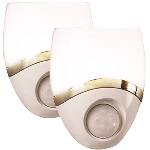 Amerelle Motion-Sensor LED Night Light, 2 Pack - Plug-In Night Light Activates When Motion Sensor Detects Movement - Modern Night Light with White/Nickel Finish, Ideal for Hallway & Bathroom-73092CC