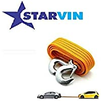 STARVIN 4M Long || Super Strong Emergency Heavy Duty || Car Tow Cable || 3 Ton Towing Strap Rope || with Dual Forged Hooks || Yellow Colour || A-01