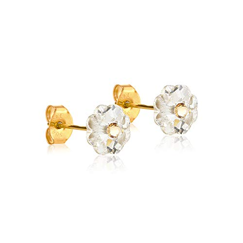 6mm Stud Earrings for Women & Girls| Swarovski Flower Crystals, 14K Gold Plated| Made With Hypoallergenic, Surgical Stainless Steel| Jewelry Gifts by Clecceli (Clear & Gold)
