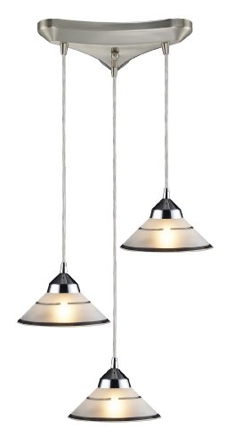 Elk 1477/3 3-Light Pendant In Polished Chrome and Etched Clear Glass