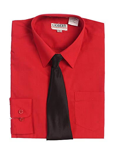 Gioberti Boy's Long Sleeve Red Dress Shirt with Black Zippered Tie, Bow Tie, and Handkerchief Set, Size -