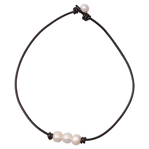 Women White 3 Cultured Freshwater Pearls Choker Necklace on Genuine Leather Cord Knotted Jewelry-Brown 16