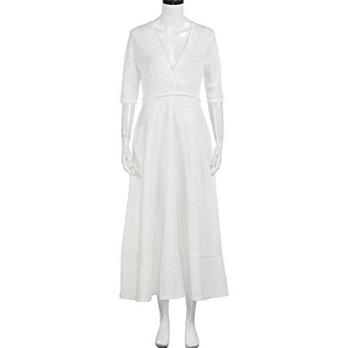 QinMM Frauen Lange Ballkleid Prom Damen Abend Party Swing Sommerkleid Weiß
