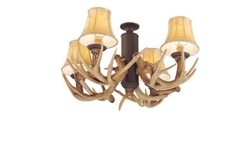 Monte Carlo MC116WI 4-light Antler Light Kit, Weathered Iron finish, Includes 3-Foot chain and Four 60-Watt Incandescent Candelabra Bulbs