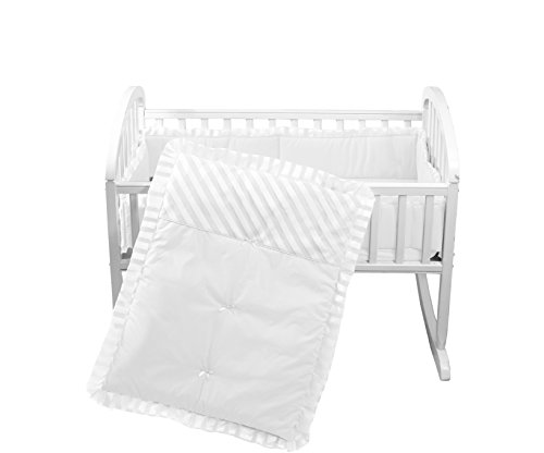 White Cradle Bedding - Baby Doll Candyland Cradle Bedding Set, White