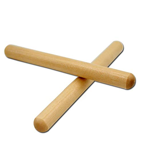fine-day 2 Pairs 8 Inch Classical Solid Hardwood Claves, Percussion Instrument/Rhythm Sticks for The Young Musicians (Natural Wood Color)