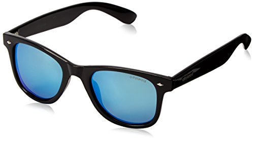 Polaroid Sunglasses Unisex-Adult Pld6009sm PLD6009SM Polarized Wayfarer Sunglasses, Shiny Black/gray Blue Mirror Polarized, 50 - Glasses Polaroid