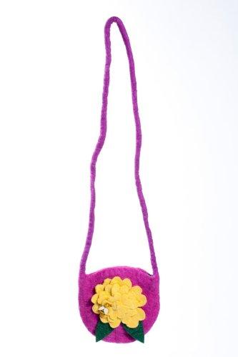 Earth Divas KFP-09-l Girls Purse Purple Felt Flower with Bee