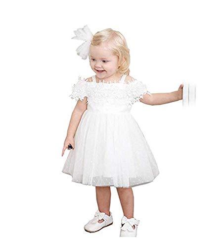 Flower Baby Girl Tulle Dress Cold Shoulder Birthday Wedding Party Summer Dresses White ()