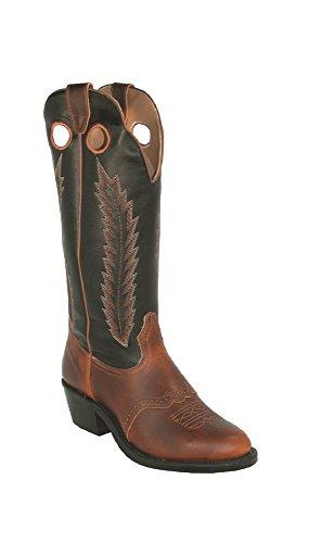 Bottes américaines - Bout Rond - Talon Horseman Heel BO-3415-E (pied normal) - Homme - Cuir - marron/noir