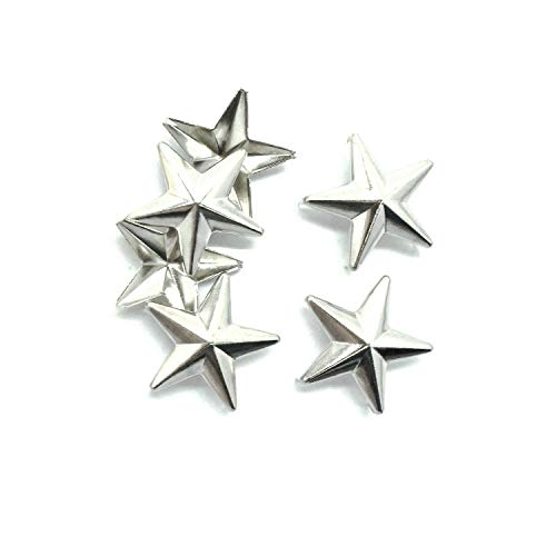 Footwear Heavy Duty (25 Pieces X 28Mm Star-Shaped Studs With Spikes - Silver Hand Pressed 10Mm Nail Head Rivets - Suitable For Leather Crafting, Decorating Clothes, Jackets, Belts, Footwear, And Bags)