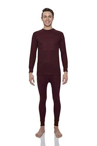 Rocky Men's Waffle Thermal Underwear Set 2 pc Long John Underwear Ultra Soft Top and Bottom Base Layer (M, Burgundy)