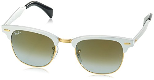Ray-Ban CLUBMASTER ALUMINUM - BRUSHED SILVER Frame GREEN FLASH GRADIENT Lenses 49mm - Green Lenses Ban Flash Ray