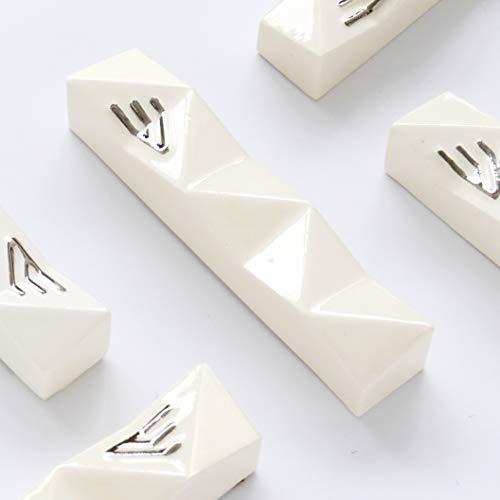 Handmade Mezuzah Case, White Ceramic with Silver 'Shin' Modern Judaica Fits 4