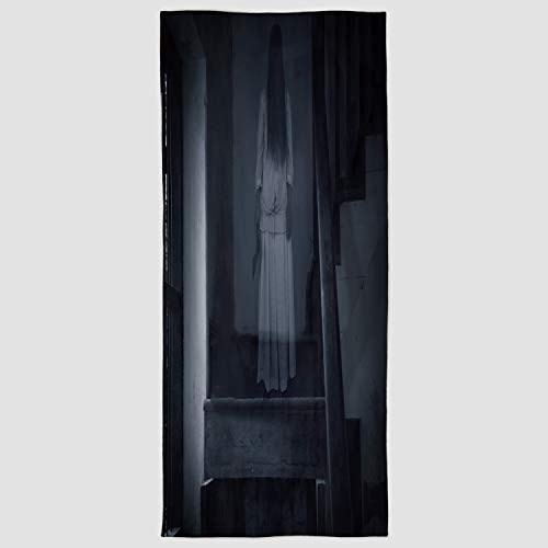 Cotton Microfiber Hand Towel [ Halloween,Horror Scenery Ghost Girl Figure on Stairway Holding Axe Murder Violent Nightmare Decorative,Grey White ] for Hotel SPA Beach Pool Bath