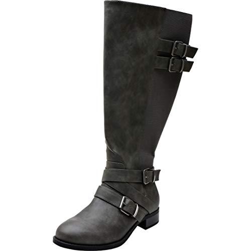 Aukusor Women's Wide Width Knee High Boots - Low Heel Buckle Detail Elastic Wide Calf Zipper Winter Boots.(180805 Khaki 11.5WW) Buckle Detail Tall Boots