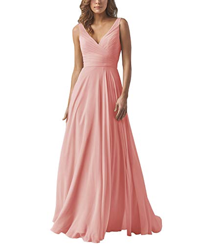 Yilis V-Neck Ruched Bodice Long Prom Dress A-line Wedding Party Dress with Corset Back Peach US14