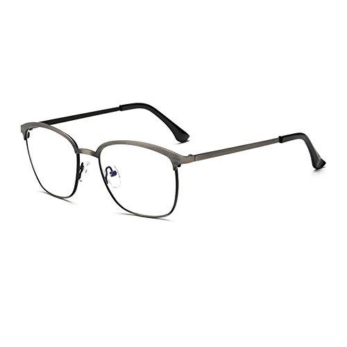 couleurs de Métallique verres structure Gray lumière vintage lunettes cadre bleue Une claire plein anti carrés lentille variété de Delaying xFOqpTwp