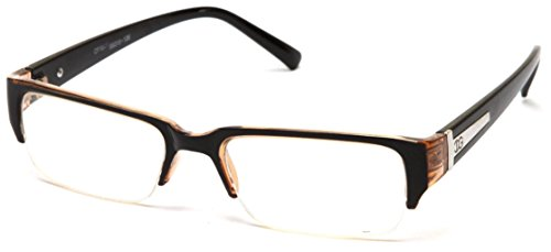 Newbee Fashion - Aliz Unisex Clear Lens Sleek Half Frame Slim Temple Fashion Glasses Black/Brown