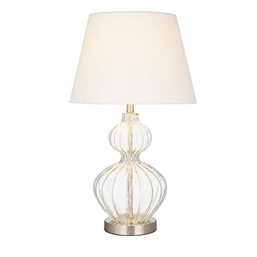 Cheap Ravenna Home Modern Clear Glass Table Lamp, 23.75″H, With Bulb,  Brushed Nickel