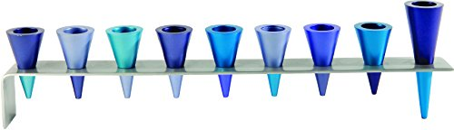 Majestic Giftware YE-HMK-3 Anodized Strip Cone Chanukah Menorah, 15.4
